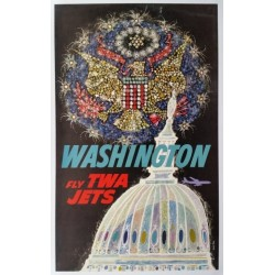 Affiche ancienne originale Fly TWA Jets Washington - David KLEIN