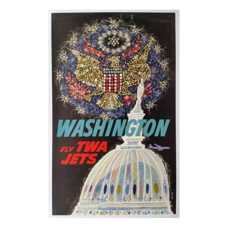 Affiche ancienne originale Fly TWA Jets Washington - David KLEIN