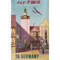 Affiche ancienne originale Fly TWA to Germany - S GRECO