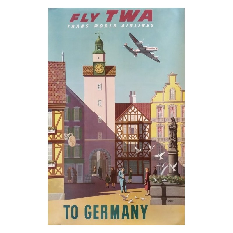 affiche ancienne originale fly twa to germany s greco. Black Bedroom Furniture Sets. Home Design Ideas
