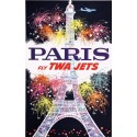 Original vintage poster Paris Fly TWA Jets - David KLEIN