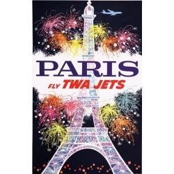 Affiche ancienne originale Paris Fly TWA Jets - David KLEIN
