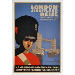 Original manifesto London Schottland reise Tower bridge Horseguard - Otto ANTON