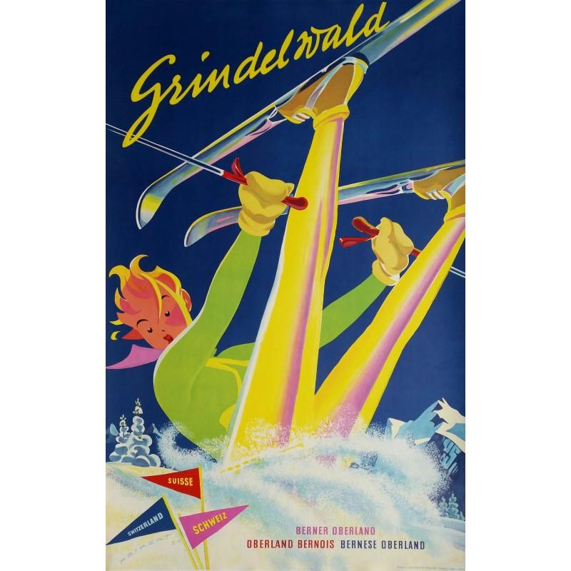 Affiche originale ski Grindelwald Switzerland - Martin PEIKERT