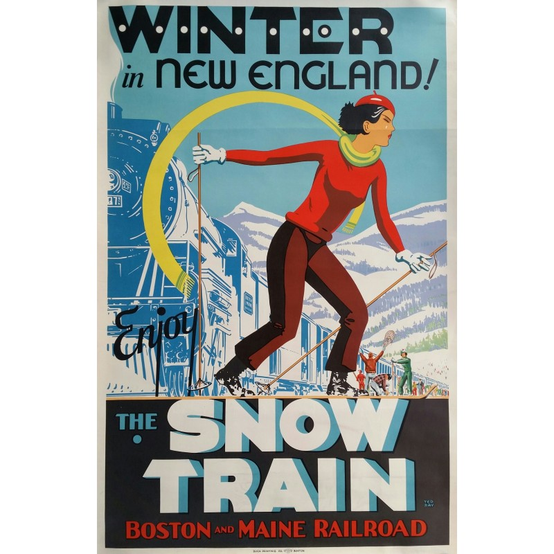 Affiche ancienne originale ski Winter in New England, The Snow train - Ted RAY