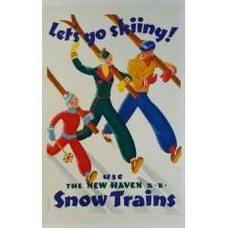 Affiche originale ski Let's go skiing, New Haven Snow trains - Sascha MAURER
