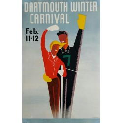 Original viejo cartel esqui Dartmouth Winter Carnival February 11 12 - ARMSHEIMER