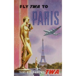 Affiche ancienne originale Fly TWA to PARIS Trans World Airlines - David KLEIN