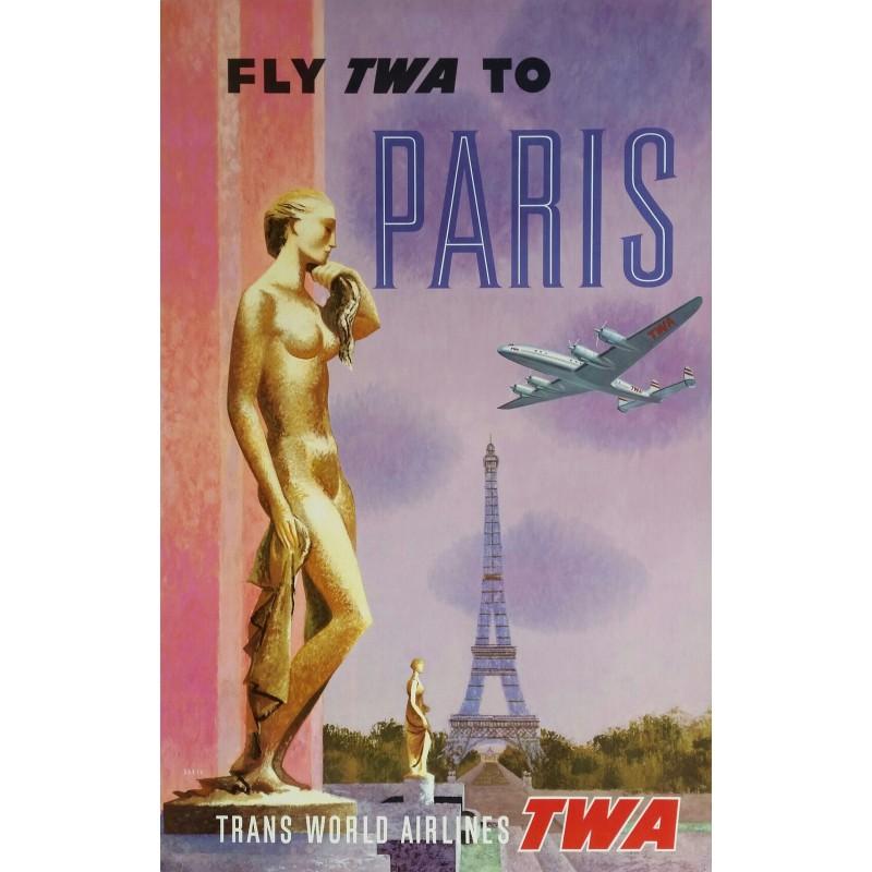 Affiche ancienne originale Fly TWA to PARIS Trans World Airlines - David KLEIN