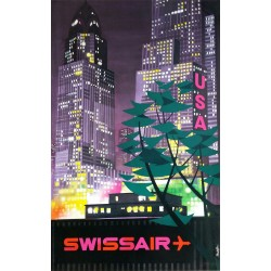 Affiche ancienne originale SWISSAIR USA - Donald BRUN