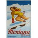 Affiche originale ski Montana Vermala Switzerland - SAGALOWITZ Wladimir