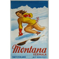Original vintage poster ski Montana Vermala Switzerland - SAGALOWITZ Wladimir