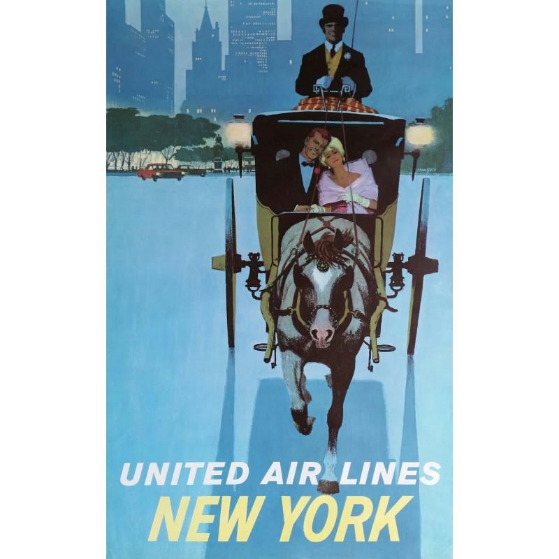 Affiche originale United Air Lines NEW YORK - Stan Galli