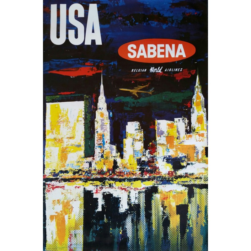 Affiche originale Sabena USA Manhattan - Gaston Vanden Eynde