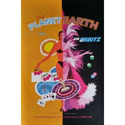 Original travel poster Visit Planet Earth via ORBITZ Las Vegas - David Klein - Robert Swanson