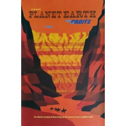 Original travel poster Visit Planet Earth via ORBITZ Grand Canyon - David Klein - Robert Swanson