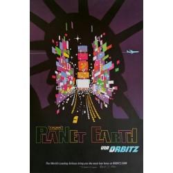 Affiche originale VVisit Planet Earth via ORBITZ New York  Time Square - David Klein - Robert Swanson