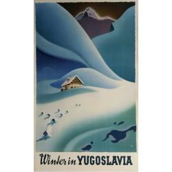 Affiche ancienne originale sport d'hiver Winter in Yugoslavia - Janez Trpin