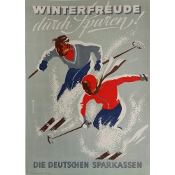Affiche originale ski sport d'hiver Winterfreude durch Sparen Die Deutschen Sparkassen DDR