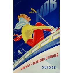 Original viejo cartel esqui MOB Suisse - Martin PEIKERT