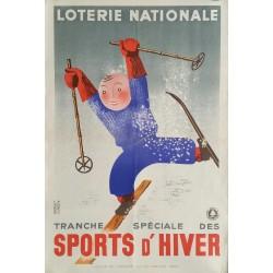 Affiche ancienne originale ski Loterie Nationale tranche spéciale des sports d'hiver - DEROUET LESACQ
