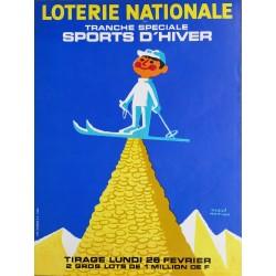 Affiche ancienne originale ski Loterie Nationale tranche spéciale des sports d'hiver - Hervé MORVAN