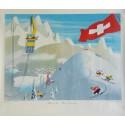 Affiche ancienne originale L'hiver en Suisse - Winter in Switzerland - EIDENBENZ Hermann