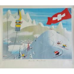 Original viejo cartel esqui L'hiver en Suisse - Winter in Switzerland - EIDENBENZ Hermann