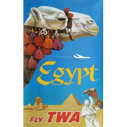 Affiche ancienne originale Fly TWA Egypt - David KLEIN