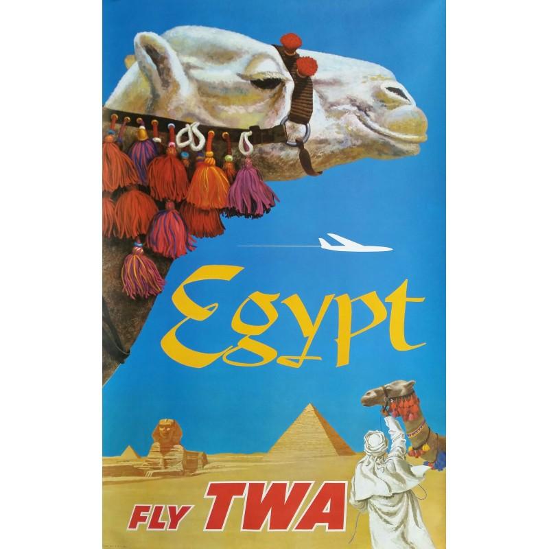 Affiche ancienne originale Fly TWA Egypt - David KLEIN