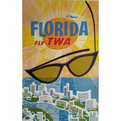 Affiche originale Fly TWA Florida - David KLEIN