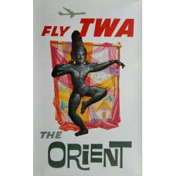 Affiche ancienne originale Fly TWA The Orient - David KLEIN