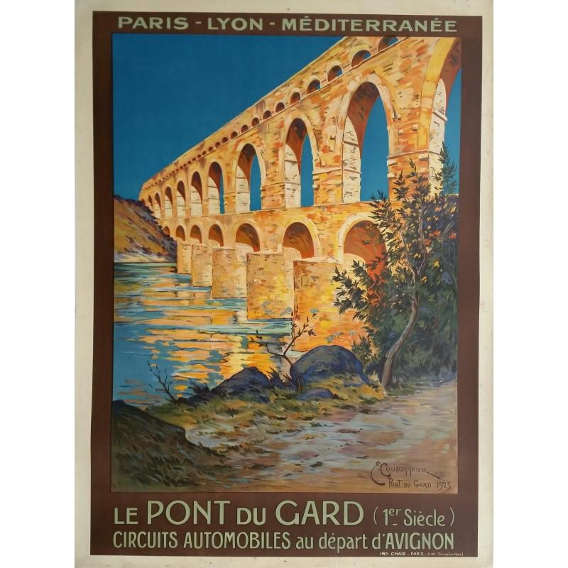 Affiche ancienne originale Le pont du Gard PLM - E COURONNEAU - 1923