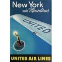 Affiche originale United Airlines New York via Mainliner