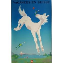 Affiche originale Vacances en Suisse - Donald BRUN