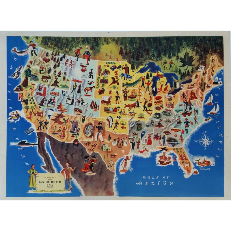 Original vintage poster Trailways presents vacation and play USA - 1949