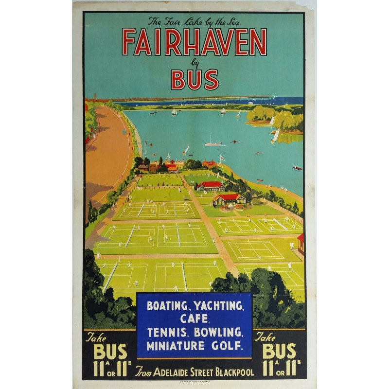 affiche ancienne originale fairhaven by bus boating yachting tennis bowling miniature golf. Black Bedroom Furniture Sets. Home Design Ideas
