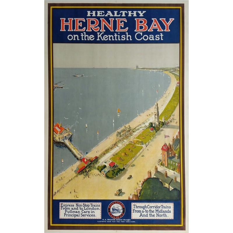 Original vintage poster Southern Railway Herne bay on the kentish coast