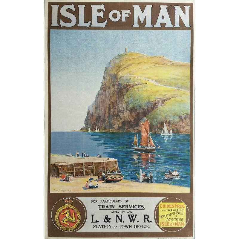 Affiche ancienne originale Isle of Man London & North Western Railway - BROWN Samuel John Milton
