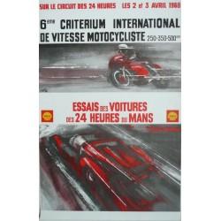 Affiche originale essais des 24 heures du Mans 2 et 3 avril 1966
