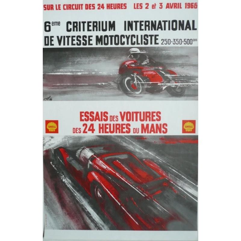 Original vintage poster essais des 24 heures du Mans 2 et 3 avril 1966