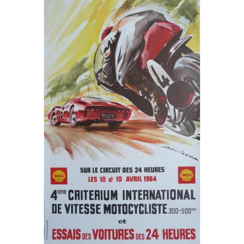 Affiche originale essais des 24 heures du Mans 18 et 19 avril 1964