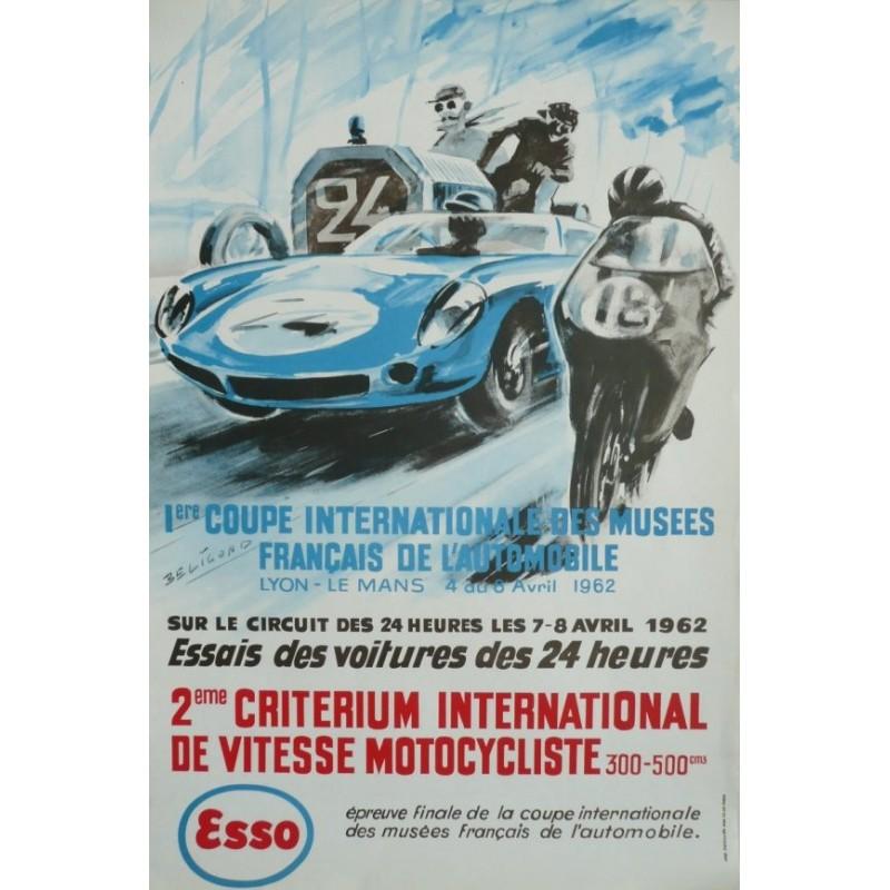 Affiche originale essais des 24 heures du Mans 4 au 6 avril 1962 - BELIGOND