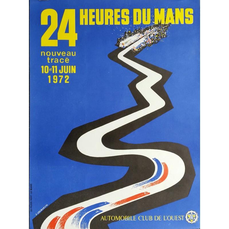 Affiche originale 24 heures du Mans 1972 - J Jacquelin