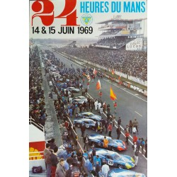 Affiche originale 24 heures du Mans 1969 Photo André Delourmel