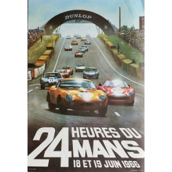 Affiche ancienne originale 24 heures du Mans 1966 Photo André Delourmel