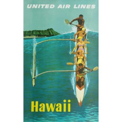 Original vintage poster United Airlines Hawaii - Stan GALLI
