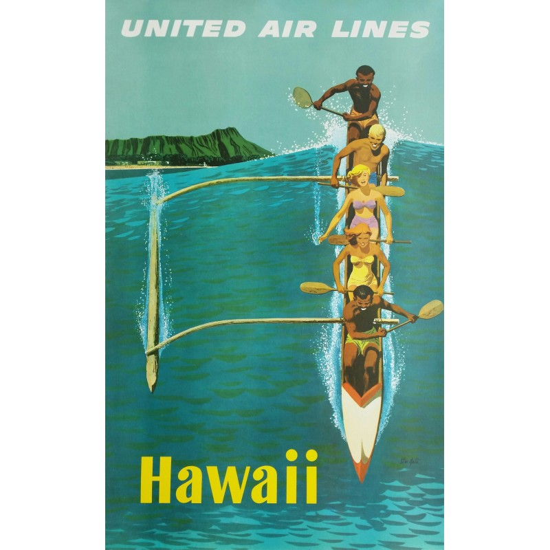 Affiche ancienne originale United Airlines Hawaii - Stan GALLI