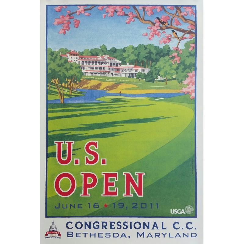 Affiche originale US Open Golf USGA Congressional Bethesda Juin 2011 - Lee Wybranski