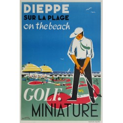 Affiche ancienne originale Dieppe Golf Miniature sur la plage on the beach - Léon GAMBIER